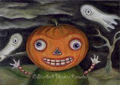 Vintage Halloween Art Jack O Lantern Painting by wibbleyworld, $7.00