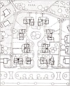 Clarence Stein - early 1900s new york - garden city movement - collab w henry wright to design rayburn, NJ - garden suburb, superblock layout, total separation btwn automobile and pedestrian
