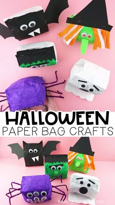 Paper Bag Halloween Crafts -Cute Paper Bag Witch, Bat, Frankenstein, Spider and Ghost! Kids will have a blast making these Halloween paper bag crafts! Fun and easy Halloween craft for kids. crafts videos Paper Bag Halloween Crafts for Kids Moldes Halloween, Halloween Crafts For Toddlers, Crafts For Seniors, Toddler Crafts, Diy Crafts For Kids, Fall Crafts, Halloween Fun, Infant Halloween, Preschool Halloween