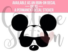 Mickey Aviator Glasses Iron-On Decal, T-Shirt Decal, Personalized Decal, Vinyl Decal, Decal, Statement Decal
