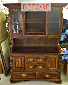 s 8 hutch makeovers we can t stop looking at, painted furniture, Before A dated 80s hutch