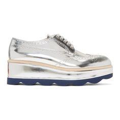 30e501dfbf5 PRADA Silver Wave Platform Brogues.  prada  shoes