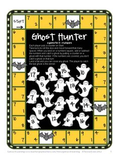 Ghost Hunter – Printable Addition and Subtraction Game in Halloween Math Games, Puzzle and Brain Teasers by Games 4 Learning $