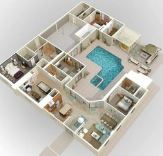 House Floor Design, Sims 4 House Design, Small House Design, Dream Home Design, Home Design Plans, Modern House Design, Plan Design, Sims 4 House Plans, House Layout Plans