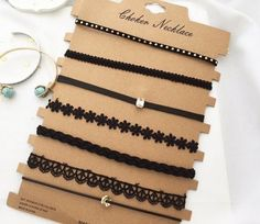 Seven Chokers set (Diy Necklace Choker) Cute Jewelry, Diy Jewelry, Jewelry Accessories, Fashion Accessories, Fashion Jewelry, Jewelry Making, Chocker Necklace, Chokers, Choker Jewelry