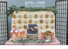 Donut Worry Be Happy Donut Bar Wedding Sign Decor! For more info visit https://www.instagram.com/everlaser/  wedding decor signs, wooden wedding signs,rustic wedding decor, customized wedding, customized decor, party decor, wedding prop, rustic wedding, bride and groom, table numbers, wooden table numbers, wooden table signs, lasercut