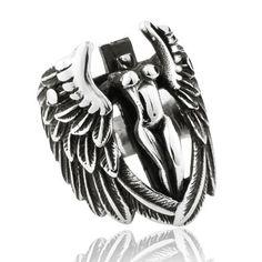 Vintage Niello Wing Angel Cool Men's Titanium Ring $168.90 - http://www.zivpin.com