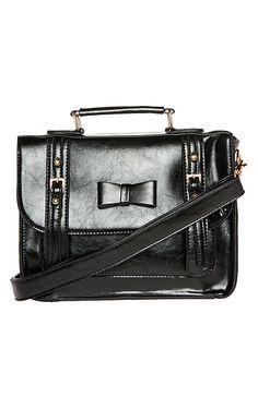 Ladylike Bow Satchel in Black | DAILYLOOK