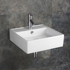 by Napoli Square Wall Mounted Ceramic Sink Latest Bathroom Tiles, Latest Bathroom Designs, Bathroom Designs Images, Boho Bathroom, Bathroom Design Small, Bathroom Wall Decor, Family Bathroom, Bathroom Furniture, Bathroom Ideas