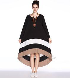 Anysize contrast color joint linen dress loose long dress spring autumn dress clothing plus size dress plus size clothing Y63