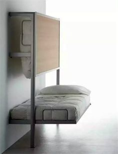 If folding furniture still makes you think about bad decor and cheap interior these stylish items here will change your opinion. Small spaces just don't Folding Furniture, Folding Beds, Furniture Design, Furniture Ideas, Smart Furniture, Repurposed Furniture, Furniture Makeover, Space Saving Beds, Space Saving Furniture
