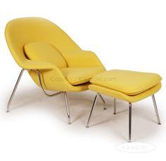 Womb Chair & Ottoman, Citron Bouclé Cashmere Wool |