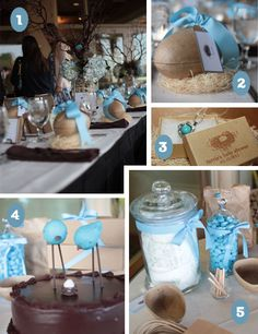 like the clear jars with ribbon and candy inside to put out at tables