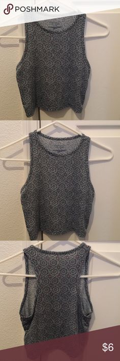 Aeropostale crop top Bluish/grayish with a little bit of red on it. It's very comfortable and you can wear it with shorts or even a skirt. I have worn it with a black skirt and a burgundy skirt. In perfect condition only worn twice. Aeropostale Tops Crop Tops