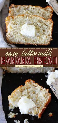 This easy Buttermilk Banana Bread recipe does not disappoint! This easy quick bread recipe is moist, delicious, and has a wonderful aroma. Pin this easy breakfast idea or brunch recipe!