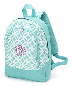 Another great find on #zulily! Princess Linens Aqua Circles Monogram Small Backpack by Princess Linens #zulilyfinds