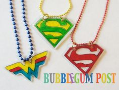 Create Your Own Superhero Themed Necklace ( w/ shrink plastic sheet)