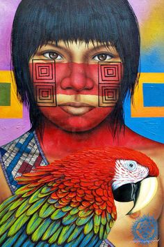 Art for sale from artist Victor Crisostomo Gomez - From My Heart. Native American Paintings, Native American Art, Latino Art, South American Art, Caran D'ache, Spirited Art, Indigenous Art, Mexican Art, Mural Art