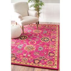 nuLOOM Handmade Overdyed Persian Wool Pink Rug (7'6 x 9'6) (Pink), Grey, Size 8' x 10'