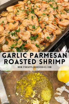 Garlic Parmesan Roasted Shrimp is an easy recipe that's delicious and light! Marinate the shrimp, and then roast the shrimp for 8-10 minutes! Easy Recipes | Easy Recipes Dinner | Easy Recipes for Kids to Make | Easy Recipes Healthy | Easy Recipes for Two | Easy Recipes for Dinner | Shrimp | Shrimp Recipes | Shrimp Recipes Healthy | Shrimp Recipes for Dinner | Shrimp Recipes Baked | Healthy Dinner Recipes | Healthy Meals | Healthy Recips | Healthy Eating | Seafood Recipes | Seafood Dinner Shrimp Recipes For Dinner, Seafood Recipes, Healthy Dinner Recipes, Diet Recipes, Bariatric Recipes, Seafood Dinner, Summer Recipes, Delicious Recipes, Cooking Recipes