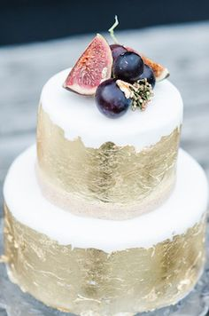 Gold leaf wedding cake   Anais Stoelen Photography   see more on: http://burnettsboards.com/2015/01/plum-gold-rustic-chic-wedding/