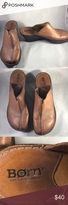 Born Brown Leather Clogs Size 8 US / 39 EU Love these brown clogs from Born  Great shoe for a fun occasion Born Shoes Mules & Clogs