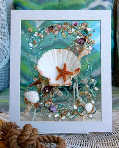 Sea Glass Art for Beach House Decor, Seashell Wave, Starfish Glass Art, Beach Style Wall Hanging, Beach Sun Catcher,Bathroom Art with Shells by SeaSideCreations1 on Etsy