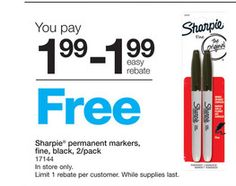 FREE Sharpie Permanent Markers this week!