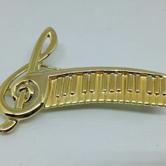 Signed AJC Vintage G-CLEFT PIANO KEYBOARD BROOCH PIN Gold Tone Costume Jewelry  | eBay