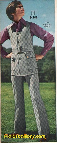 "70's Fashion for Boys. For the big man on campus. ""The Vest Suit of Defiance"" - Plaid Stallions."