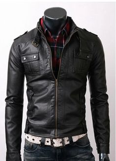 handmade Men Black Leather Jacket, men black leather jacket, Men stylish slim black leather jacket. $129.99, via Etsy.