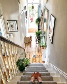Rob has called a halt to the garden plants indoors thing I've had going on - having to peel a snail off the mirror in the hallway (from the… Home idea. Bright Hallway, White Hallway, Hallway Colours, Hallway Mirror, White Staircase, Victorian Hallway, Flur Design, Design Design, Stair Landing