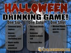Time to scare the bajeesus out of yourself with this fun Halloween drinking game!  #Halloween  #MichaelMyers #drinkinggame