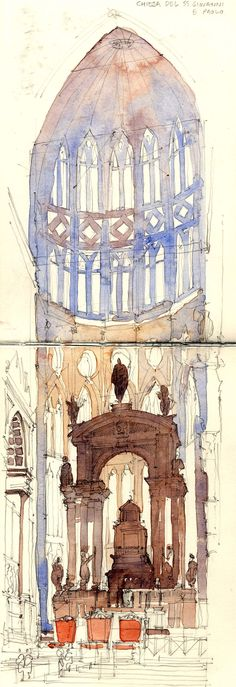 Watercolour Sketch of Church Interior (SS Giovanni) Venice, Italy Watercolor Drawing, Painting & Drawing, Watercolor Paintings, Watercolors, Watercolor Architecture, Architecture Drawings, Drawing Sketches, Art Drawings, Beautiful Sketches