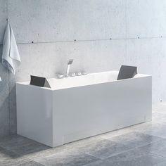 Stilrent badekar med nakkeputer. Salt, Bathtub, Bathroom, Standing Bath, Washroom, Bathtubs, Bath Tube, Full Bath, Salts