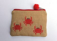 Red crabs burlap pouch bag cross stitch embroidery by Apopsis