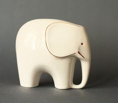 MidCentury Modern Porcelain Elephant Figurine by GoGoBerlinette