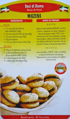 Receitas D'casa: Maizena#100 anos de Receitas Best Gluten Free Desserts, Tasty, Yummy Food, Whoopie Pies, Hot Dog Buns, Biscotti, Food Hacks, Donuts, Cookie Recipes