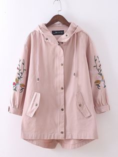 2019 Spring New Embroidery Hooded Trench Coat Women Vintage Solid Long Loose Overcoat Casual Plus Size Outerwear Faux Fur Hooded Coat, Hooded Trench Coat, Long Trench Coat, Hooded Jacket, Plus Size Outerwear, Plus Size Coats, Chic Outfits, Fashion Outfits, Women's Fashion