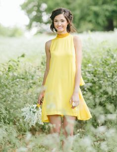This yellow silk dress is a perfect bridesmaid dress for a modern wedding! See more cute looks for your bridesmaids Yellow Bridesmaid Dresses, Bridesmaid Outfit, Bridesmaid Gowns, Cute Dresses, Summer Dresses, Yellow Fashion, Mellow Yellow, Yellow Dress, Playing Dress Up