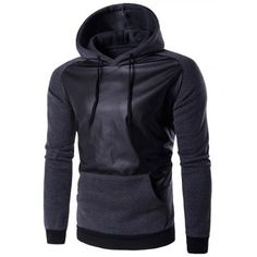 Prezzi e Sconti: #Hooded pu-leather splicing raglan sleeve Instock  ad Euro 19.31 in #Deep gray #Mens clothing mens hoodies