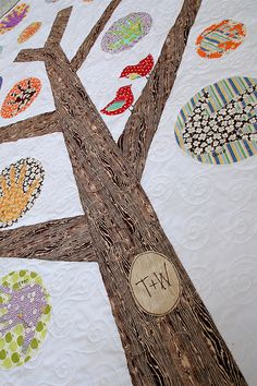"""grandma's hands"" quilt! Cute! Initials and handprints of family members"