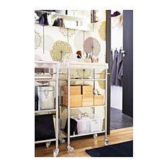 IKEA - GRUNDTAL, Rollwagen, Breite: 48 cm Tiefe: 24 cm, Höhe: 77 cm, Mobil - inklusive Rollen.Herausnehmbare Einlegeböden, leicht zu reinigen.