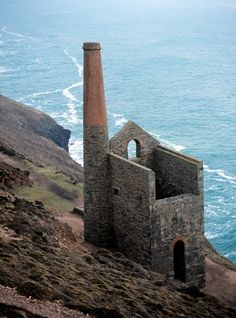 One of many old tin mine remains in Cornwall - England