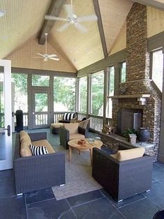 Modern Porch with French doors, Outdoor area rug, stone fireplace, Vaulted wood… Outdoor Rooms, Outdoor Living, Outdoor Furniture Sets, Outdoor Decor, Outdoor Life, Indoor Outdoor, Porch Fireplace, Fireplace Screens, Modern Porch