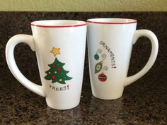 Fitz and Floyd Christmas Holiday Coffee Mug Cup - Set of 2 - Ornaments and Trees #FitzandFloyd