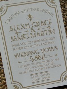 Great Gatsby Wedding Invitation or Save by MadelineLewisDesigns, $20.00