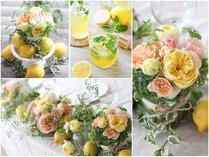 太陽の光をたっぷり浴びたレモンやオレンジを思わせる色合いの会場装花。 黄色やオレンジのビタミンカラーはお二人やゲストの方を楽しく明るい気持ちにさせてくれるはず。 アレンジにミントなどのハーブを加えたり、野菜のような葉を巻いた器で、更にフレッシュな印象に。 アクセントとして最後にレモンを散らせば完璧! ◆ kukka design ◆ 東京・三軒茶屋にあるウェディングフラワーのオーダーメイドアトリエ http://www.kukka-flowers.com