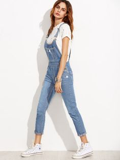 Shop Ripped Denim Dungarees With Pocket online. SheIn offers Ripped Denim Dungarees With Pocket & more to fit your fashionable needs. Denim Dungarees, Denim Jumpsuit, Denim Overalls, Ripped Denim, Denim Jeans, White Overalls, White Denim, Salopette Jeans, Denim Overall Shorts