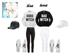 """""""black and white lisa and lena"""" by blah101today on Polyvore featuring Topshop and adidas"""